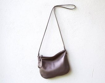 free shipping - leather crossbody bag - CLUTCH with cross body strap - little leather bag - select leather color in drop down menu