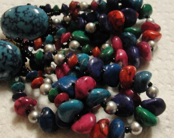 Vintage Simulated Turquoise and Multi Beaded Strand Beaded Pierced Earrings