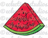 Sweet Summertime, watermelon, summer, hipster, beach word art SVG file for silhouette or cricut die cutting machine