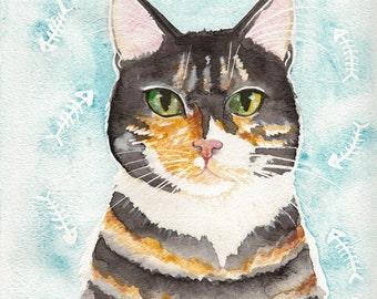 Portrait of A Calico Cat- Original Cat Folk Art Watercolor Painting