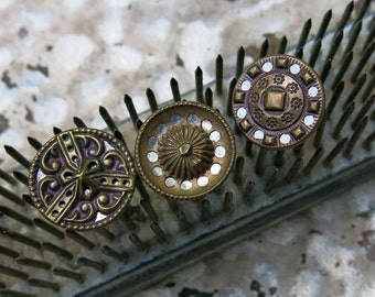 Antique Victorian Mirror Back Buttons, Vintage Twinkle Buttons, 3 ... Pierced, filigree, brass, metal, tinted ... lot of three