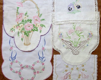 Vintage Embroidered Linen Lot Salvage Remnants #43 ... Pastel Pink ... Flower Basket, Bouquets, Pansies, Mixed Floral Lot, Scrap Collection