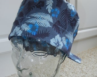 Tie Back Surgical Scrub Hat in Blue Hawaiian Floral