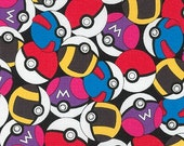 Pokemon fabric, Pikachu fabric, Pokemon gift, Kids fabric, Pokemon Go fabric, Cotton fabric by the yard, Pokeballs in Black, Choose your cut