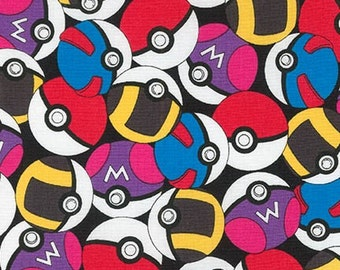 Pokemon fabric, Pikachu fabric, Pokemon gift, Kids fabric, Pokemon Go fabric, Cotton fabric by the yard, Pokeballs in Black, Choose your cut