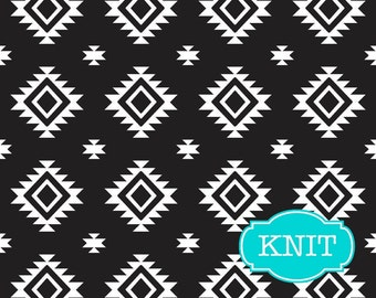 Aztec print KNIT fabric by Riley Blake Fabrics, Jersey Knit, Cotton Knit Fabric, Stretch Fabric - Aztec in Black, Fabric by the yard