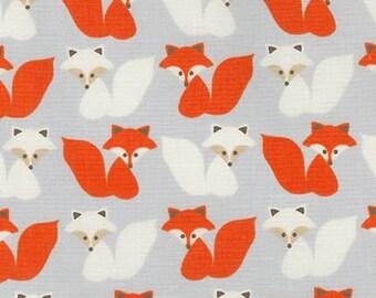Fox Fabric, Fox Decor, Boy fabric, Nature, Boy Nursery, Gray fabric, Woodland Pals fabric, Robert Kaufman, Fox in Gray, Choose your cut