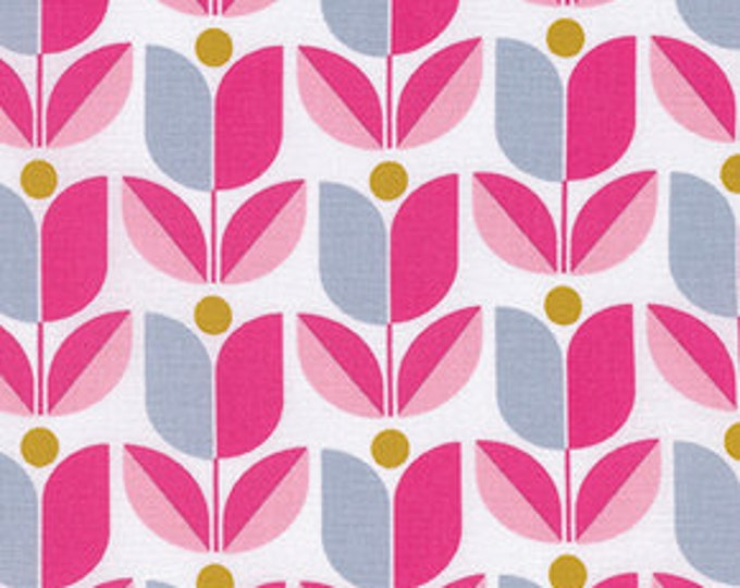 Floral fabric, Pink Fabric, Cotton Fabric by the Yard, True Colors fabric, Tulips in Fuchsia by Joel Dewberry, Choose your cut