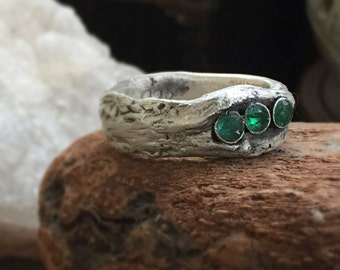 Central Park West hand sculpted fairy wood ring with three Columbian Muzo mine emeralds tcw 0.6 ct size 7