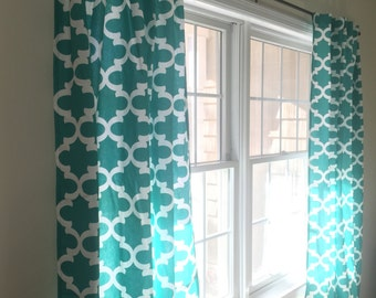 "Custom Window Curtain Panel Moroccan Lattice Quatrefoil Hidden Tabs MANY COLORS To Choose From 50""W x 84""L"