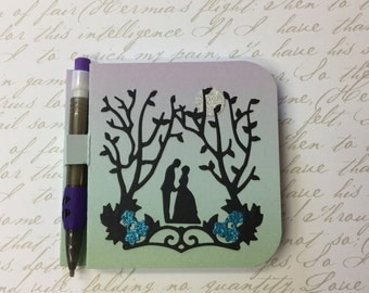 Romantic Couple Post It Note Notepad with Pencil
