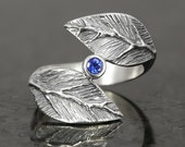 Sterling silver leaf ring with  a faceted blue sapphire- elf pixie tribal boho