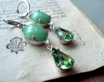 Mint Green Rhinestone Earrings Vintage Style Bridesmaid Silver Jewelry Mothers Day August Birthstone Spring Earrings Gifts Under 30