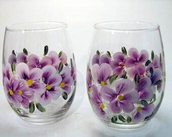 Hand Painted Purple Violet Stemless Wine Glasses