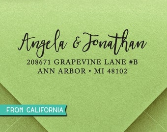 CUSTOM ADDRESS STAMP - Self inking Stamp, Rubber Stamp, Return Address stamp, Personalized Stamp, rsvp Address Stamp, Wedding Stamp 303