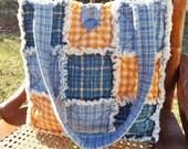 Rag Quilt Tote, Homespun Blue and Yellow, Pretty Plaids, Handmade, Rag Quilt Handbag