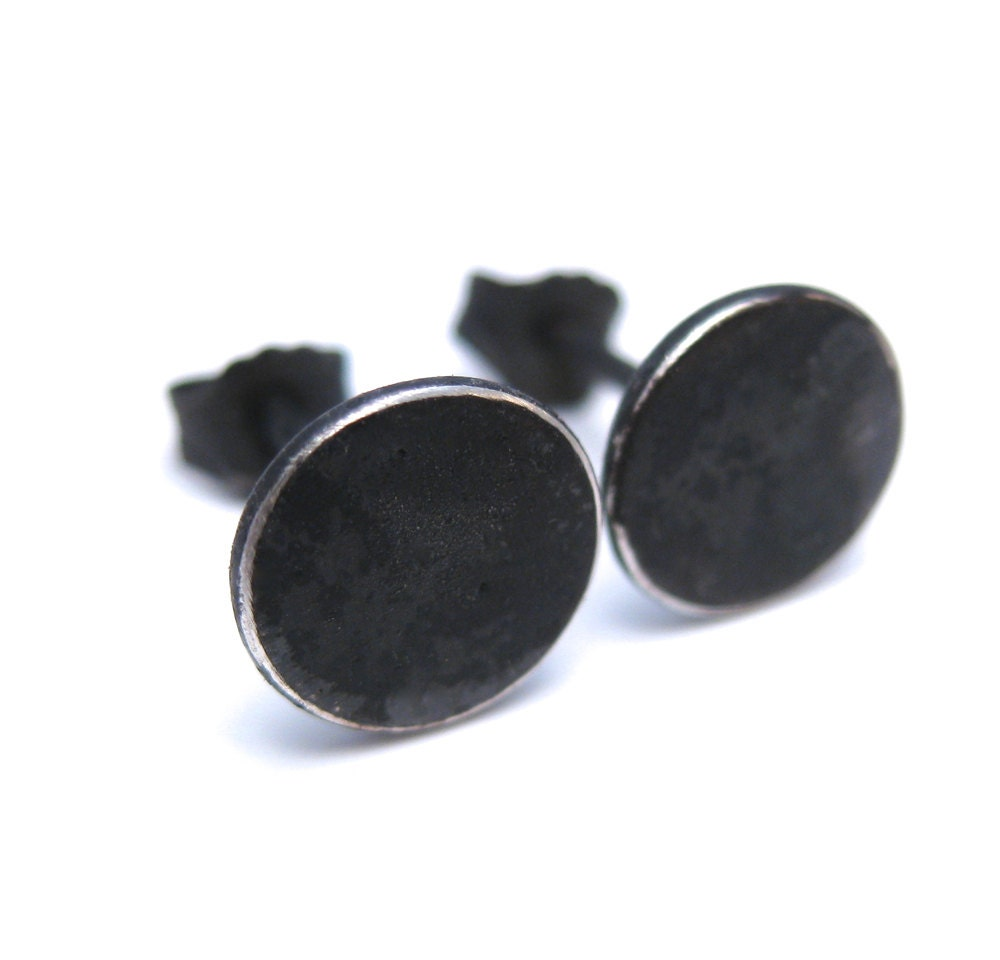 Black Circle Stud Earrings Earrings For Men Oxidized Silver