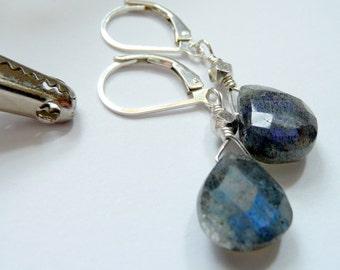 Artisan Semi Precious Stone Labradorite Wire Wrapped Sterling Silver Bead OOAK Boho Minimalist Organic Rocker Gift for Her Earrings