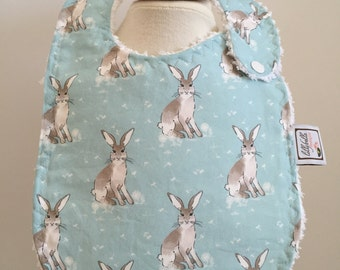 hare day in aspen  ~ baby bib ~ cottontail collection ~ hawthorne threads ~ boutique quality ~ bunny baby bib from lillybelle designs