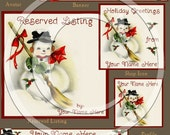 Vintage Holy and Snowman Holiday Etsy Store Banner Logo Set