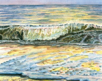 Original seascape watercolor painting, Ocean Dreams
