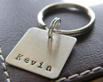"""Custom Keychain - Personalized Hand Stamped Sterling Silver - 3/4"""" Square Key Chain - Perfect Gift for Father's Day"""