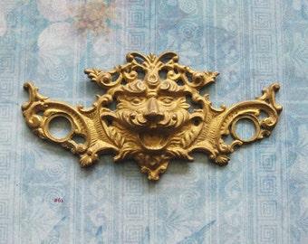 Brass North Wind Escutcheon Lion King Furniture Plate Antique Medieval Figural Gargoyle Repurpose Hardware
