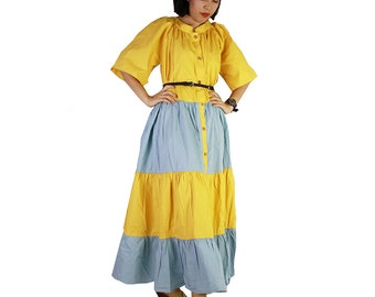 Beautiful Yellow and Blue Cotton Patchwork Long Buttons dress Plus size Maxi Long tunic (D 9)