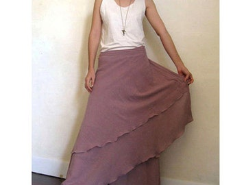 Custom Made Boho hippie gypsy two layers cotton circle long wrap skirt S - L (H)