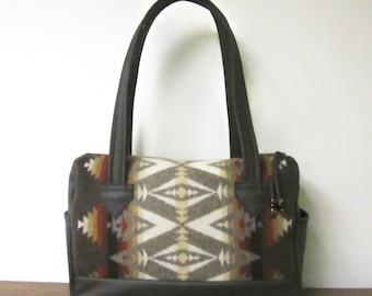 Handbag Purse Shoulder Bag Brown Leather Blanket Wool from Pendleton Oregon Southwest Style
