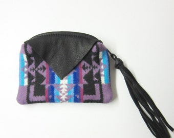 Zippered Pouch Wool Change Purse Coin Purse Black Deer Hide Leather Trim Inexpensive Gift