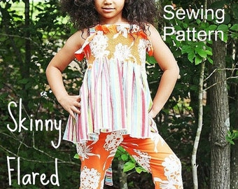 SALE Girls Skinny Flared Pants Pattern Tutorial Doll Babies Toddlers through 8 girls PDF Instant