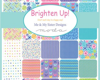 "Moda BRIGHTEN UP Precut 5"" Charm Pack Fabric Quilting Cotton Squares Me & My Sister Designs 22280PP"