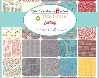 "SALE 40% Off SQ22 Moda TREEHOUSE CLUB Precut 5"" Charm Pack Fabric Quilting Cotton Squares 5630PP Sweetwater"