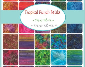"Moda TROPICAL PUNCH BATIKS Precut 5"" Charm Pack Fabric Quilting Cotton Squares 4338PP"