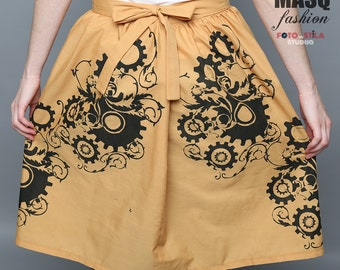 Steampunk skirt, mustard printed with Gear Print, Clockwork print, Art Nouveau Clockwork skirt, Yellow skirt, Brown steampunk lolita skirt