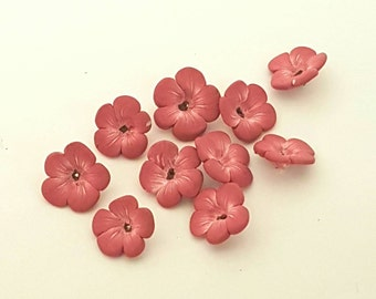 Pink Flower Beads, Polymer Clay Blossoms, Dusty Rose Beads 10 Pieces