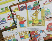 Richard Scarry -- children's counting book pages made into envelopes sketch bunny pig frog raccoon cat