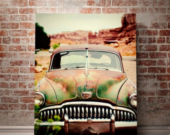 Vintage Car Photography, Classic Car, Gritty Photo, Rusty Car, Buick,  Film Photography, Garage Art, Rustic Wall Art, Vintage Car Photo