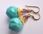 Faceted blue Turquoise and Amethyst earrings Gold Vermeil 14k Gold Filled earwires, large Magnesite stone ball earrings, Bohemian style