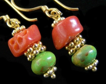 Italian Coral and Mojave Lime Turquoise Earrings Mediterranean Mohave Gold Vermeil Brick red green Sterling silver Rustic Primitive Colorful