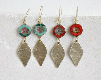 Autumn leaf earrings, brass leaves & red aqua glass flowers, fall jewelry