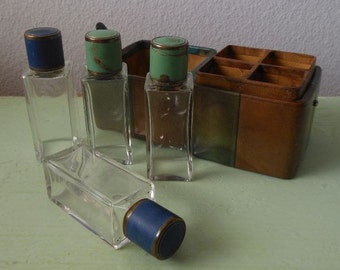 Antique 20s 1920s Enameled Perfume Bottle Set of Four in Original Leather Travel Case