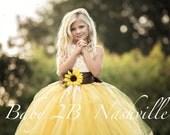 Sunflower Dress Yellow Dress Flower Girl Dress Lace Dress Summer Dress Baby Dress Toddler Dress Girls Dress