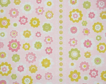 1960's Vintage Wallpaper - Yellow Pink and Green Floral