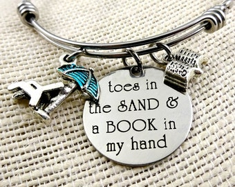 Toes In the Sand BOOK In my Hand  Beach Bracelet or Necklace - Engraved Book Lover Beach Cruise Jewelry - Ocean