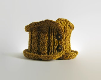 SALE - Cowl Scarf Hand Knitted in Yellow Wool - Woman