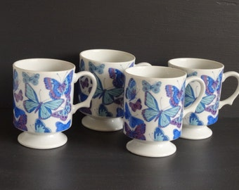 Set 4 Pedestal Mugs Butterflies Blue and Violet/Purple Footed Made in Japan