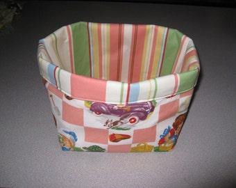 Kids Retro Playtime Fabric Storage Basket Box Bin