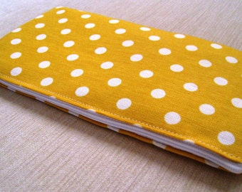 Polka Dots Bright Canary Yellow - Cash Wallet, Clutch, Make Up Bag Large Zippered Pouch - Flat - Ready to Ship
